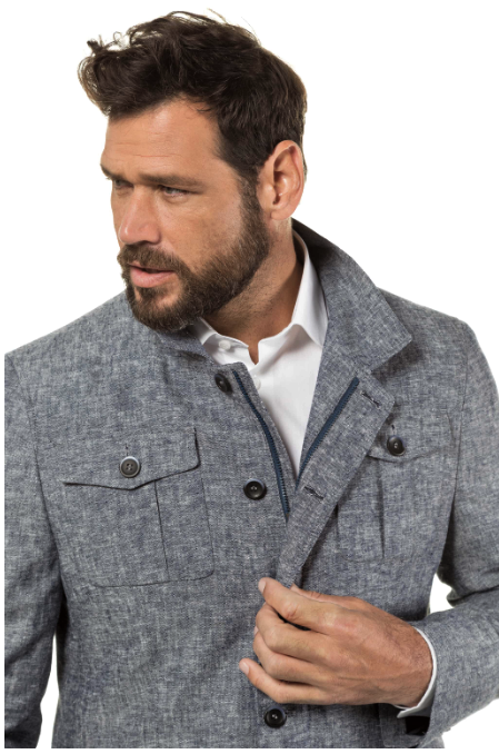 Two-Tone Linen Blend Field Lined Jacket