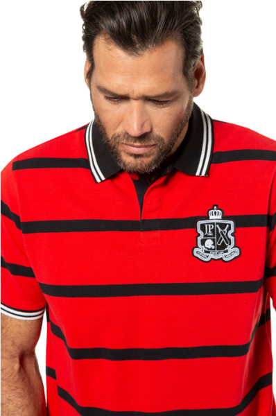 Striped piqué polo shirt, short sleeve