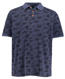 Hawaiian Print Pique Knit Cotton Polo Shirt