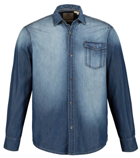 Stone Washed Modern Fit Cotton Denim Shirt