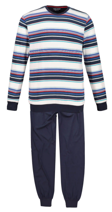 Stripe Top Solid Pants Knit Pajama Set