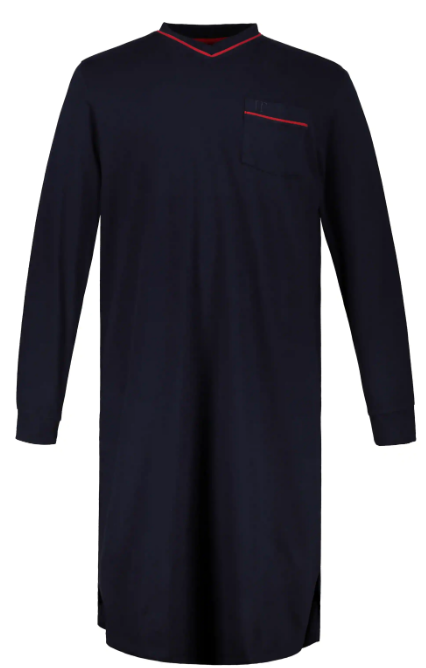 Night schirt, plain, long sleeves