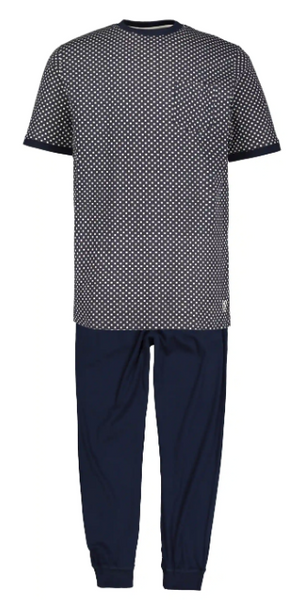 Square Print Cotton Knit Pajama Set