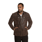 Genuine Pigskin Leather Biker Jacket