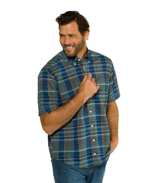 Khaki Plaid Short Sleeve Modern Fit Linen Shirt