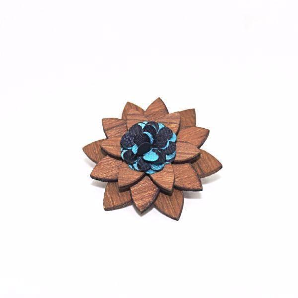 Titusville Wooden Lapel Pin Flower