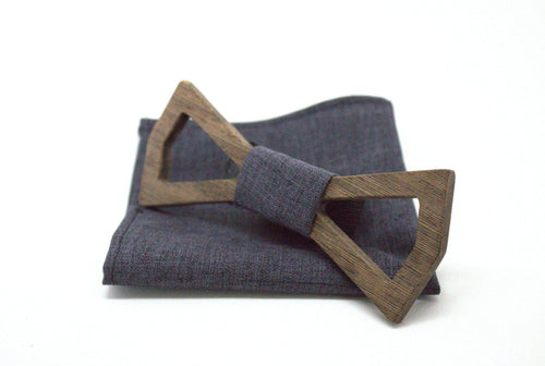 The Morphy Hollow Diamond Wooden Bow Tie