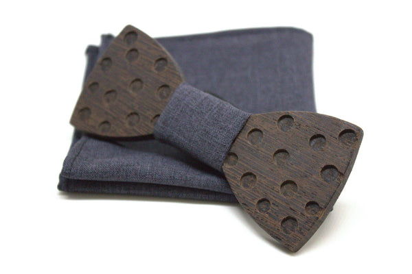 The Morphy Round Polka-dots Wooden Bow Tie