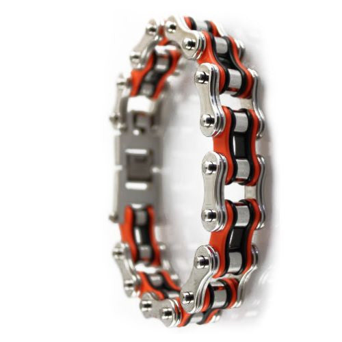 TRI-COLOR SILVER ORANGE BLACK STAINLESS-STEEL BRACELET - LIMITLESSXL
