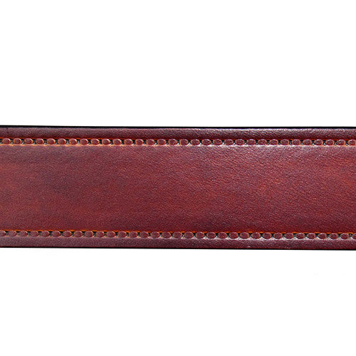 HAND DYED BROWN LEATHER BELT WITH BORDER STITCH DESIGN