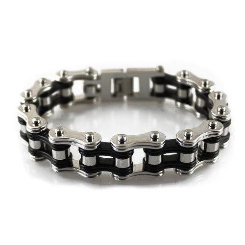 "TWO TONE SILVER/BLACK 3/4"" WIDE STAINLESS STEEL BRACELET - LIMITLESSXL"