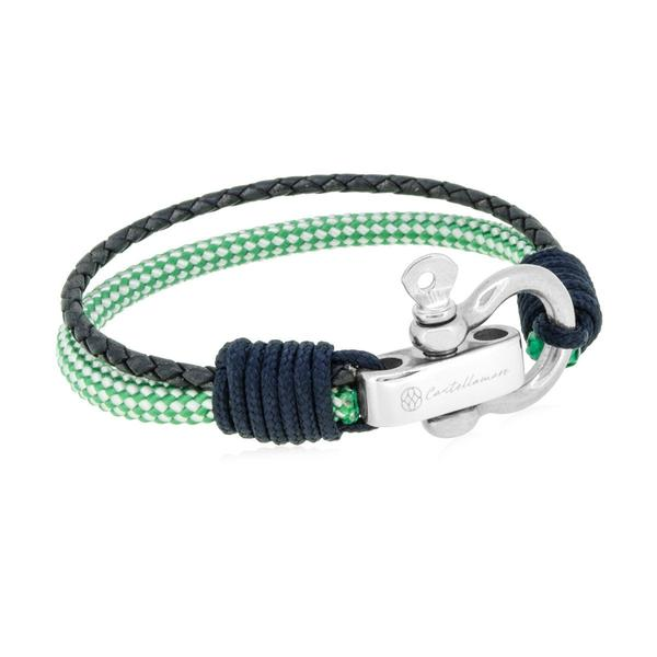 RIMINI GREEN GREY BRAIDED LEATHER SOLID NAVY SM STAINLESS STEEL