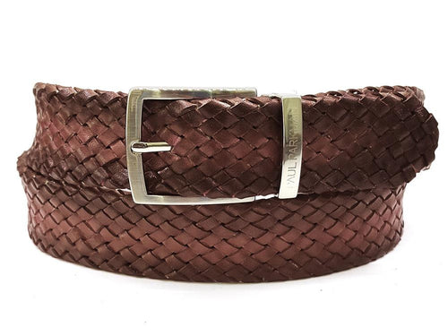 PAUL PARKMAN Men's Woven Leather Belt Brown (ID#B07-BRW)