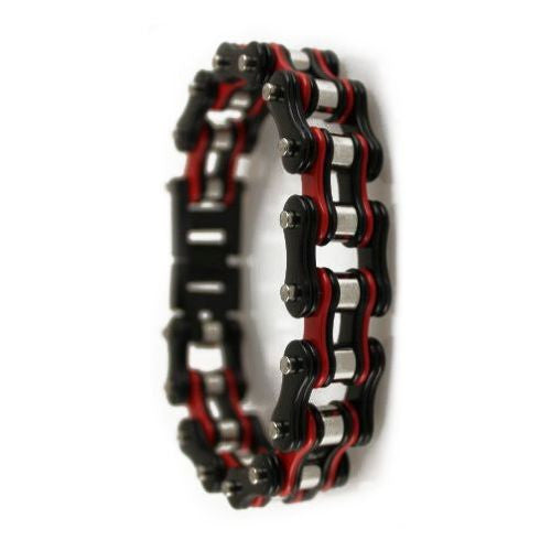 TRI COLOR BLACK RED SILVER STAINLESS STEEL BRACELET - LIMITLESSXL