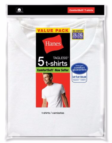 Hanes Men's White TAGLESS® Crewneck Undershirt 5-Pack