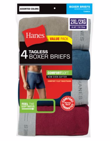 Hanes TAGLESS® Men's Boxer Briefs 4-Pack