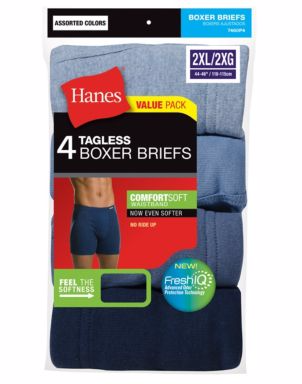 Hanes Men's TAGLESS® Boxer Briefs with ComfortSoft® Waistband 4-Pack (2X-3X)