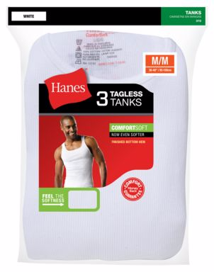 Hanes Ultimate™ ComfortSoft® TAGLESS® Men's Ribbed Tank Undershirt 3-Pack