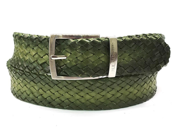 PAUL PARKMAN Men's Woven Leather Belt Green (ID#B07-GREEN)