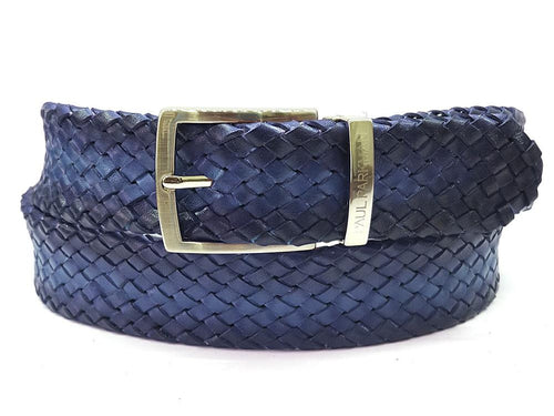 PAUL PARKMAN Men's Woven Leather Belt Navy (ID#B07-NAVY)
