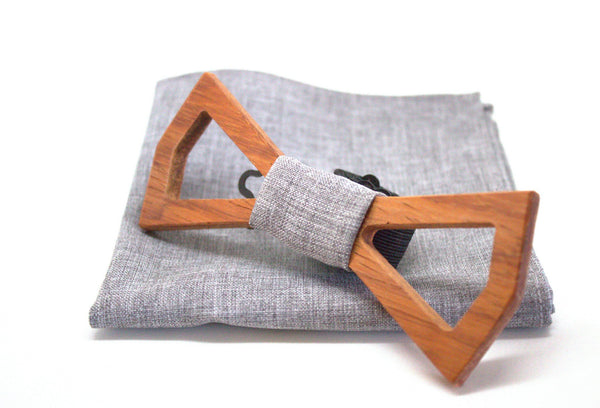The Scully Diamond Hollow Wooden Bow Tie