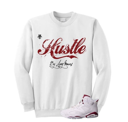 HUSTLE BY ANY MEANS WHITE SWEATER