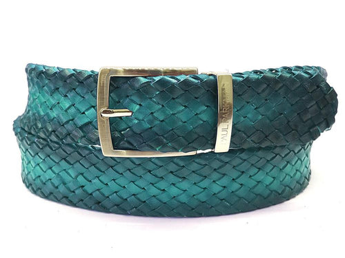 PAUL PARKMAN Men's Woven Leather Belt Turquoise (ID#B07-TRQ)