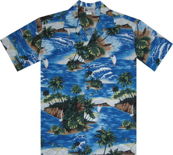 Paradise Vacation Men's Hawaiian Shirt blue