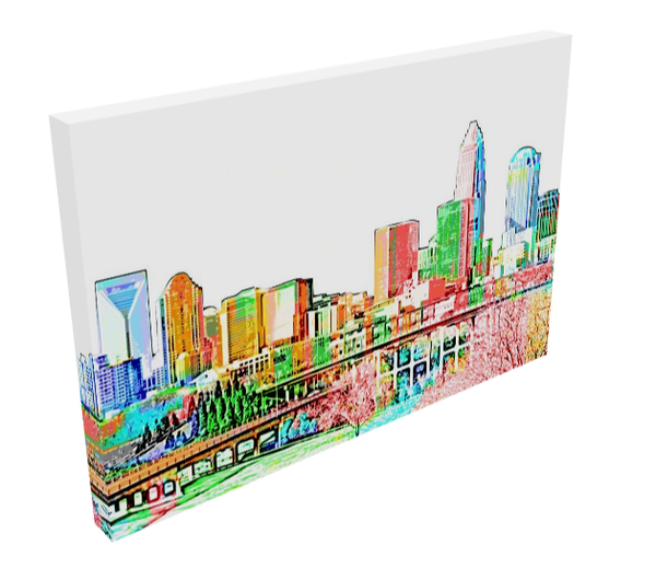 Skyline Print Custom Canvas - Charlotte and Raleigh