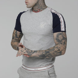 SikSilk Raglan Taped Sports Gym T-shirt - Grey