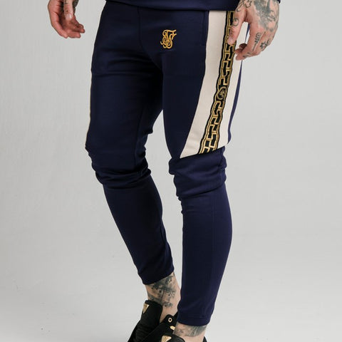 SikSilk Hybrid Panel Tape Fitted Joggers - Navy