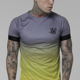 SikSilk SS Fade Out Tech Tee - Grey/Neon Yellow
