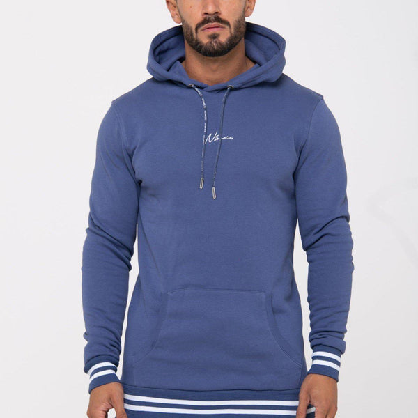 Nimes Double Stripe Overhead Hoodie - Washed Navy