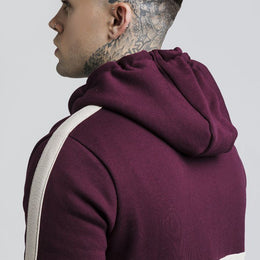 SikSilk Cut and Sew Taped Zip Through Hoodie - Burgundy/Cream