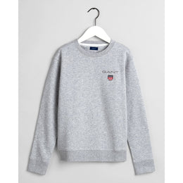 Gant Medium Shield Crew Neck Sweatshirt - Light Grey Melange