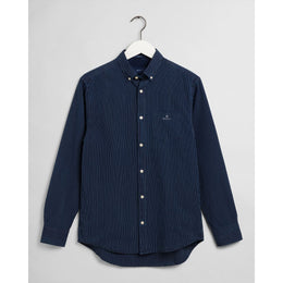 Gant Regulat Fit Indigo Pinstripe Shirt - Dark Indigo