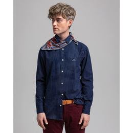 Gant Regular Fit Indigo Windowpane Check Shirt - Dark Indigo