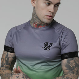 SikSilk SS Fade Out Tech Tee - Grey/Neon Green