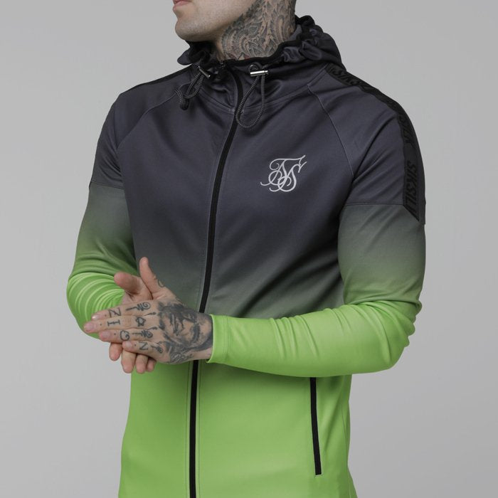 SikSilk Raglan Athlete Fade Taped Hoodie - Grey/Neon Green