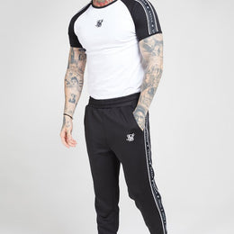 SikSilk S/S Raglan Straight Hem Tape Gym Tee - White