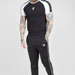 SikSilk S/S Raglan Straight Hem Tape Gym Tee - Black