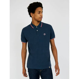 Pretty Green Barton Tipped Pique Polo - Navy