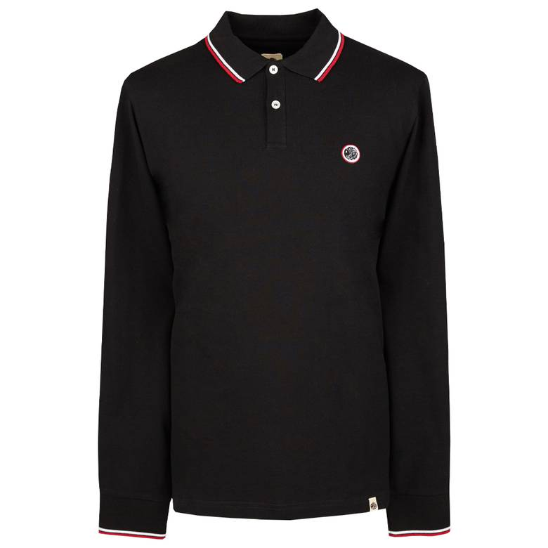 Pretty Green Long Sleeve Pique Polo Shirt - Black