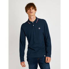 Pretty Green Barton Long Sleeve Pique Polo Shirt - Navy