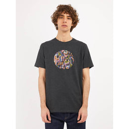 Pretty Green Thornley Paisley Print Logo T-shirt- Grey