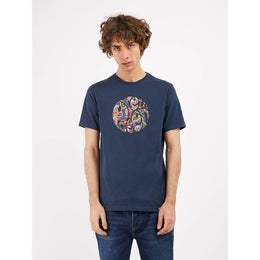 Pretty Green Thornley Paisley Print Logo T-shirt - Navy