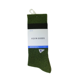 Arvin Goods Long Crew Socks - Olive Green