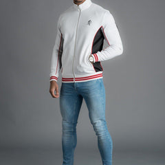 Gym King Rice Contrast Tipped Poly Tracksuit Top - White