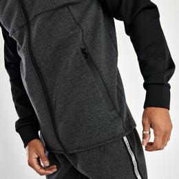 Gym King Lombardi Reflective Poly Tracksuit Top - Charcoal Marl/Black