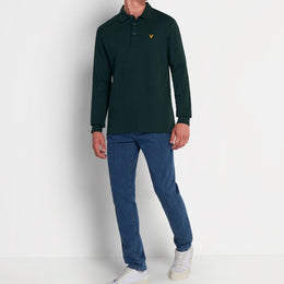 Lyle and Scott Cord Collar Long Sleeve Polo - Jade Green